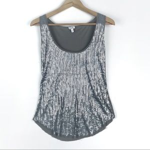 Cache Sequin Tank with raw hemline vintage